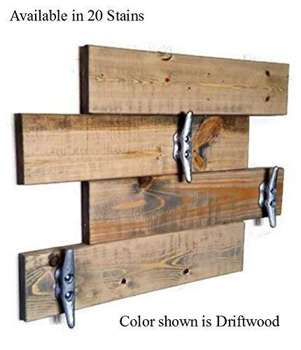 Farmhouse Hook Horizontal Hanging Plank Coat Rack with 3 BOAT CLEATS: Show in Driftwood – Available in 20 Colors – Wall Mount Coat Rack – Rustic Home Decor – Wall Hooks