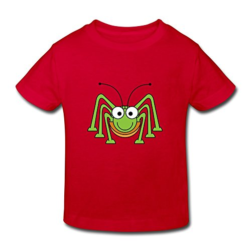 (XFSHANG Kids Toddler Awesome O Neck Cute Green Spider T-Shirt Red US Size 4 Toddler)