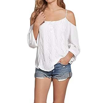 Shirt Mujer Blusa De Carmen Camisas Manga Largo Elegantes Primavera Verano Anchos Casuales Off Shoulder Spaghetti Chiffon Blancas Basicas Modernas: ...