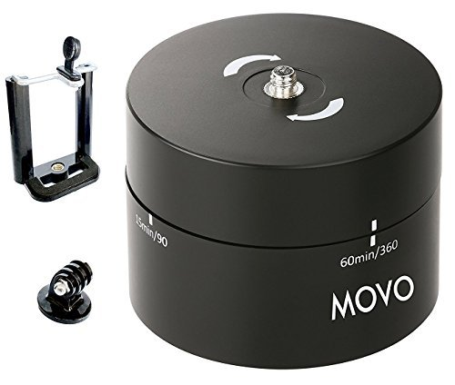 Movo Photo MTP1000 Panaromic 360°/ 60-Minute Time Lapse Tripod Head for Cameras, DSLR's, GoPro's and Smartphones (Supports up to 2kg)