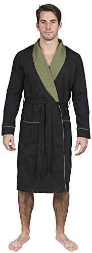 Yugo Sport Mens Robe Cotton Knit Lightweight - Men's Kimono Wrap Robe (XS-S, Black & Olive Trim)