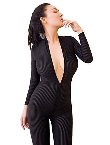 Allmloers Women Striped Bodysuit Zipper Long Sleeve Open Crotch Lingerie Jumpsuit (Black 02) Crotch Long Sleeve