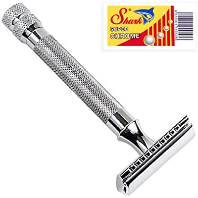 Parker 91R Super Heavyweight Double Edge Safety Razor & 5 Shark Chrome Blades