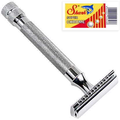 Price comparison product image Parker 91R Super Heavyweight Double Edge Safety Razor & 5 Shark Chrome Blades