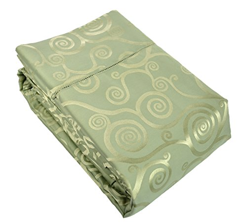 Empress Cotton Silk Scroll Pattern Sheet Set - King - Celadon