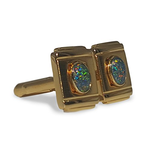 18kt GOLD PLATED OPAL CUFF LINKS WITH GREEN - Green Cufflinks Gold Plated