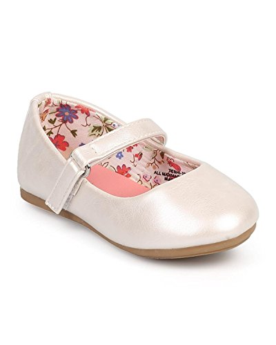 Little Angel DC39 Girl Leatherette Round Toe Classic Velcro Mary Jane Flat (Toddler/Infant) - Ivory (Size: Toddler 7)