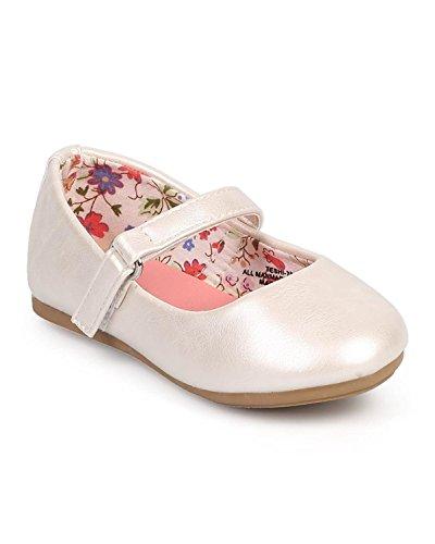 Girl Leatherette Round Toe Classic Mary Jane Flat (Toddler/Infant) DC39 - Ivory (Size: Toddler -
