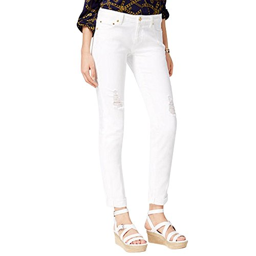 - Michael Kors Womens Dillon White Wash Distressed Skinny Jeans White 8