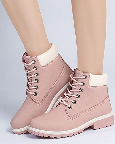 Otoño Botines Zapatos Nieve Lazada Minetom De Invierno de rosa Retro Trabajo Anti deslizante Botas Calentar Botas Mujer ITqwExqS