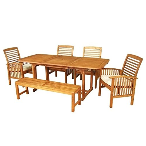 WE Furniture Solid Acacia Wood 6-Piece Patio Dining Set Review