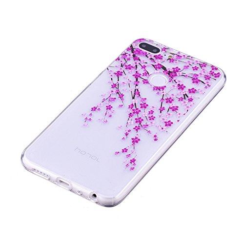 Funda para Huawei Honor 9 Lite , IJIA Transparente Hermoso Melocotón Flores TPU Silicona Suave Cover Soft Case Tapa Caso Parachoques Carcasa Cubierta para Huawei Honor 9 Lite (5.65)