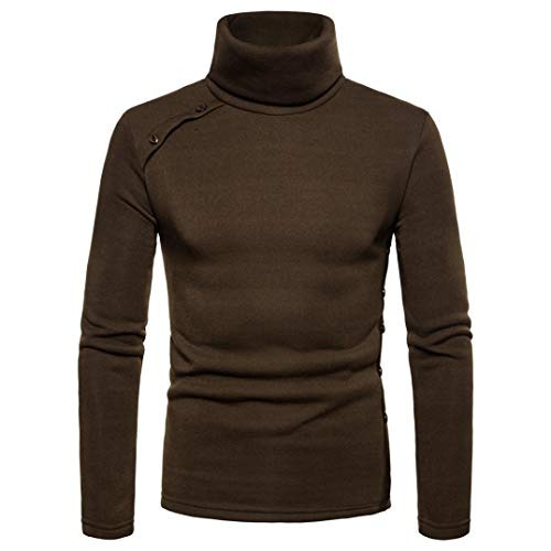 WUAI Mens Casual Sweatshirt High Collar Fashion Solid Color Choker Outwear Sweater Blouse(Green,US Size L = Tag XL)