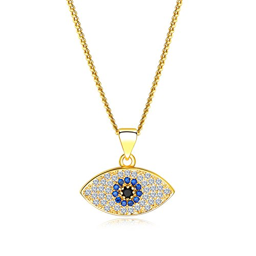 vil Eye Pendent Necklace with Mini Cubic Zirconia Cobalt Blue Glass Center Stone for Women Teen Girls(Gold & Silver Colours Available) (Gold) ()