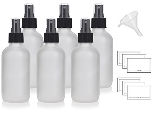 4 oz Frosted Clear Glass Boston Round Bottle with Black Fine Mist Sprayer (6 Pack) + Funnel and Labels