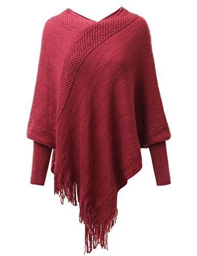 Fifth Parallel Threads FPT Decorative Stitch Around Edge Knit Poncho Burgundy - Stitch Edge Knit