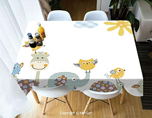 HooSo Premium Polyester Table Cover, Machine Washable, Durable Table Cloths for Wedding Reception Restaurant Banquet Party,Nursery,Jolly Jungle Creatures Happily Walking in a,53