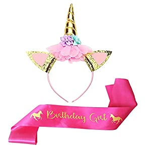 Tanlling Unicorn Birthday Party Supplies Set of Gold Glitter Unicorn Headband and Rose Red Satin Sash for Girls Happy Birthday Party Favors Decorations