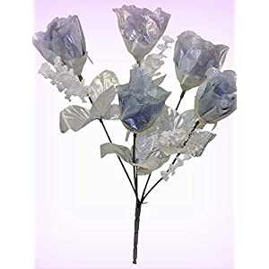 Inna-Wholesale Art Crafts New 5 Silver Roses Bouquet Artificial Silk Decorating Flowers Centerpieces - Perfect for Any Wedding, Special Occasion or Home Office D?cor 7