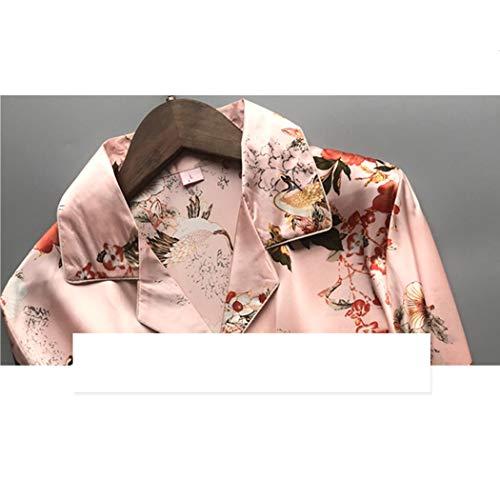 Piezas Nuevo Hogar Pink color Tamaño De Huifa A Manga Satén 62kg Pijama Xl 58 Casuales Pantalones Ropa Sedosos Para Dos Larga Pijamas Mujer Azul 0zFdqw