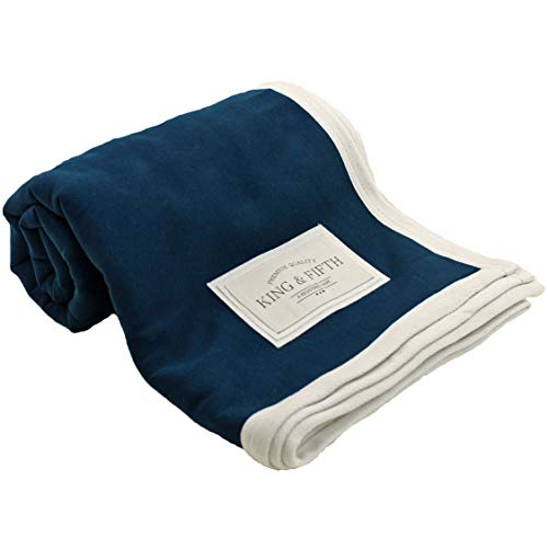 Sweatshirt Blanket Fleece Throw Blankets by King & Fifth   Cozy, Soft & Warm + Navy Throw Blanket