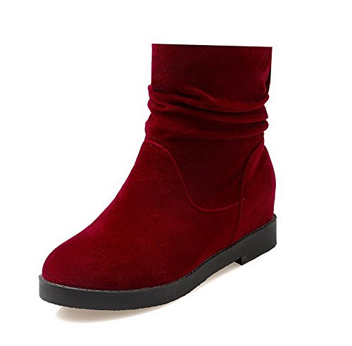 AgooLar Damen Rein PU Mittler Absatz Ziehen auf Stiefel, Rot, 40