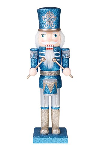 """Clever Creations Traditional Soldier Drummer Nutcracker Blue and Silver Glitter 