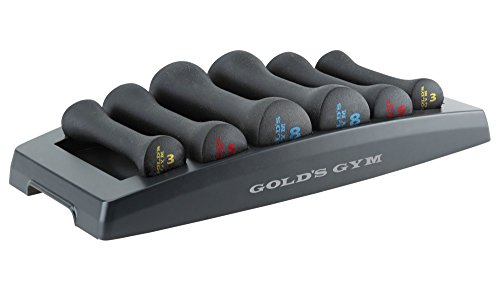 Gold's Gym Fitness Workout Hand Weights Exercise Dumbbell Set with Storage Tray by Golds Gym