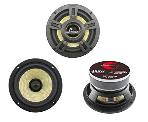 "Lanzar Upgraded Opti Pro 6.5"" High Power Coaxial Speaker - Powerful 400 Watt Peak 65Hz – 7 kHz Frequency Response 30 Oz Magnet Structure 4 Ohm w/ Glass Fiber Cone - Maybach Glasses"