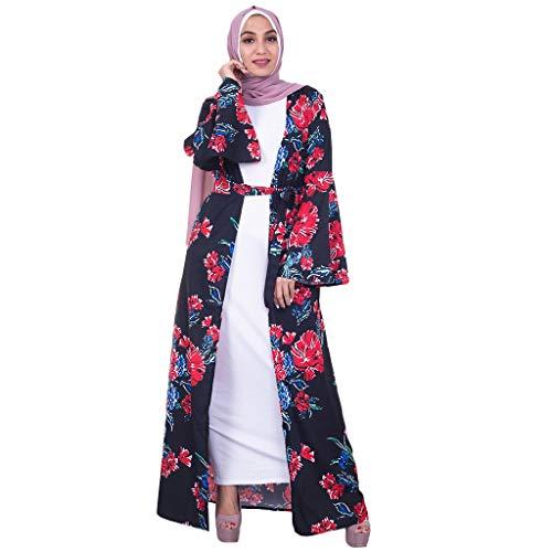 Women Elegant Muslim Kaftan Floral Printed Long Dress
