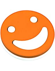 Aspire Bulk Smiley Face Beverage Kitchen Coaster Set 4 Plastic Funny Cup Mats with Matching Holder -