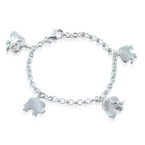 Multi Charm Dangling Good Luck Elephant Bracelet For Women For Teen Rolo Link Chain 925 Sterling Silver