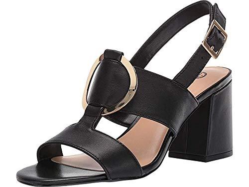 Bella Vita Women's Tanya Slingback Sandal with Metal Ornament Shoe, Black Leather, 8 2W US