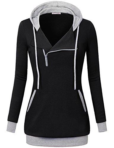 Messic Women's Long Sleeve Hooded Shirt Lightweight Zipper Pullover Hoodie