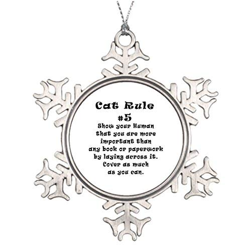 Cat Number Rules (EvelynDavid Large Christmas Tree Snowflake Ornaments Tree Decor Cat Rules Number 5 Stained Glass Snowflake Ornaments Tree Decor)