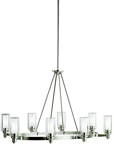 (Kichler 2345NI, Circolo Glass 1 Tier Chandelier Lighting, 8 Light, 480 Watts Halogen, Brushed)