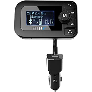 "Firste In Car Bluetooth FM Transmitter Wireless Bluetooth Receiver MP3 Player Radio Audio Adapter Aux Output Car Kit with 2.0"" Display&Dual USB Car Charger Hands Free Call for iPhone&Other Smartphone"