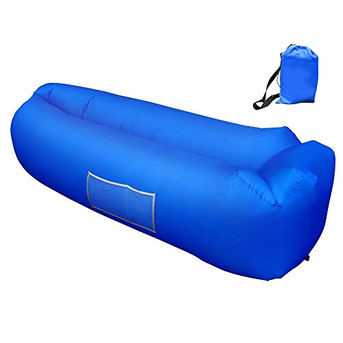 (Inflatable Lounger, Inflatable Couch Hammock with Storage Pocket Waterproof& Anti-Air Leaking Air Lounger Portable Air Sofa Inflatable Chair for Indoor or Outdoor Use, Camping, Beach (Blue))
