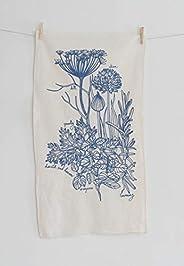 Organic Cotton Herbs Tea Towel in Blue-violet