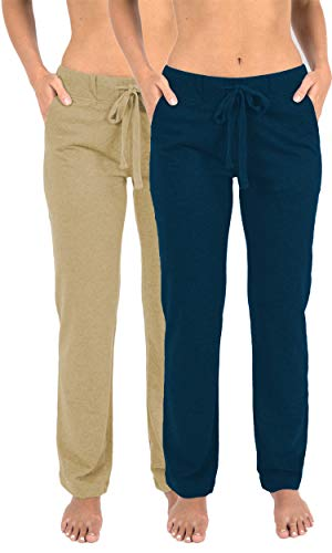 - Sexy Basics Women's 2 Pack Ultra Soft French Terry Cotton Drawstring Yoga Lounge Long Pants (2 Pack- Warm Sand/Sailor Blue, 2X-Large)
