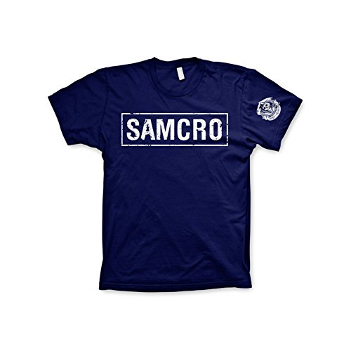 Officially Licensed Merchandise SAMCRO Distressed T-Shirt (Navy), Small
