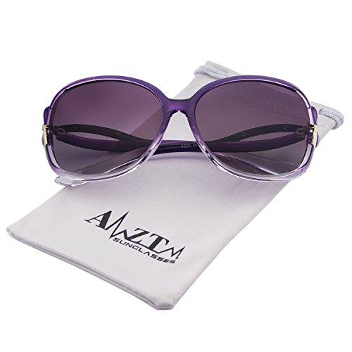 AMZTM Classic Fashion Driving Shades Oversized Frames Eyewear Polarized Sunglasses For Women (Purple, 65)