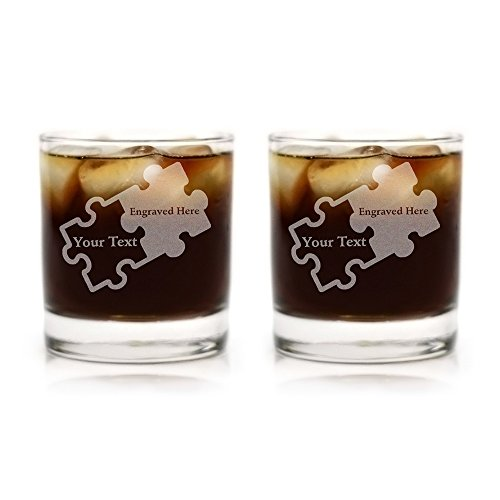 Custom Engraved Couples Puzzle Piece Glasses - Set of Two (Rocks - Piece Engraved Glass