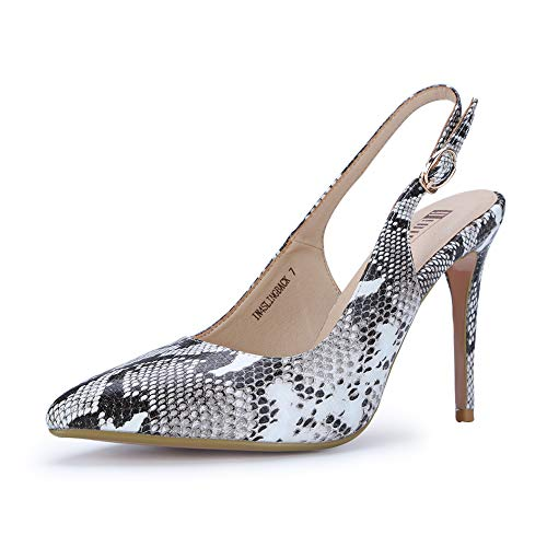 IDIFU Women's IN4 Slingback Pointed Toe Ankle Strap Stiletto High Heel Dress Pump (Snake White, 9.5 B(M) US)