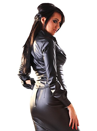 Blusa corta de cuero sintético y manga larga - negro, talla 8+ | Fetiche Multicolored