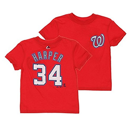 MLB Washington Nationals Little Boys Toddlers Bryce Harper #34 Player Tee, Red Majestic