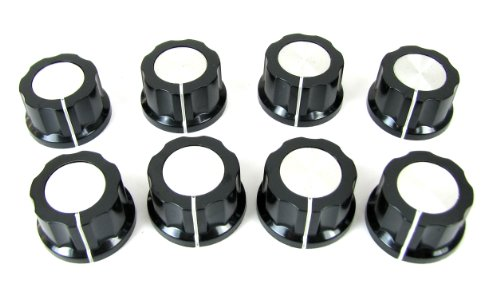 8-pack Black Plastic Fluted Knobs with Aluminum Tops & Set Screw