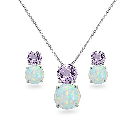 Sterling Silver Amethyst & Simulated Opal Double Round Stud Earrings & Necklace Set