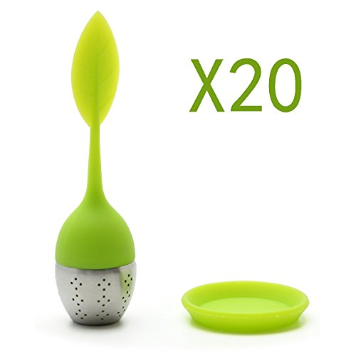 Set of 20 Whole Sale Tea Infuser Leaf Strainer Handle with Steel Ball Silicone eaf Lid (Reseda) By Xcellent Global