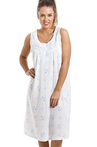 Camisón sin mangas - Con bajo hasta las rodillas - Estampado floral azul Azul